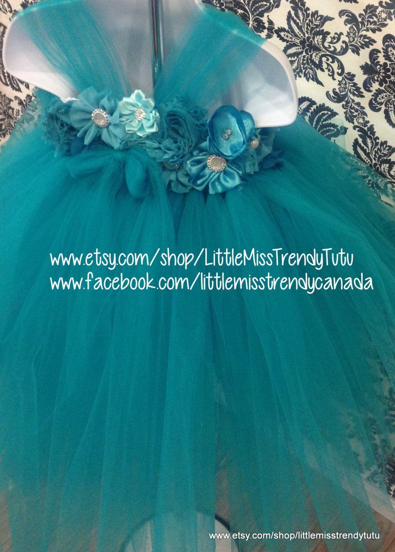 a263c20468f5 Teal Flower Girl Dress, Teal Tutu Dress, Dark Turquoise Tutu Dress ...