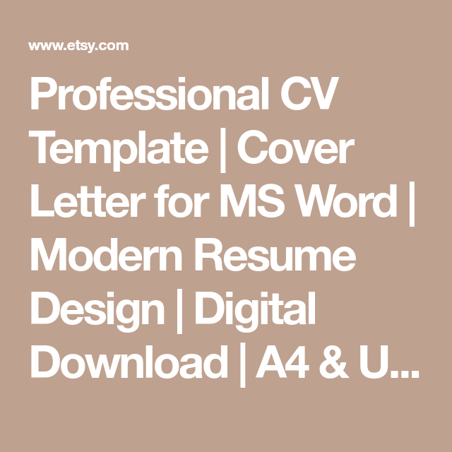 Professional Cv Template  Cover Letter For Ms Word  Modern