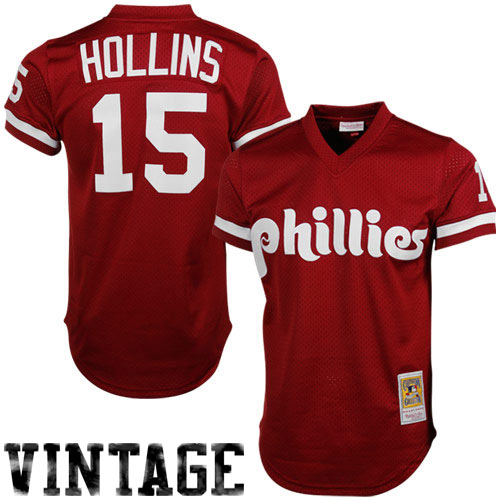 685e6e134ac Mitchell   Ness Dave Hollins Philadelphia Phillies 1991 Authentic Throwback  Mesh Batting Practice Jersey - Maroon