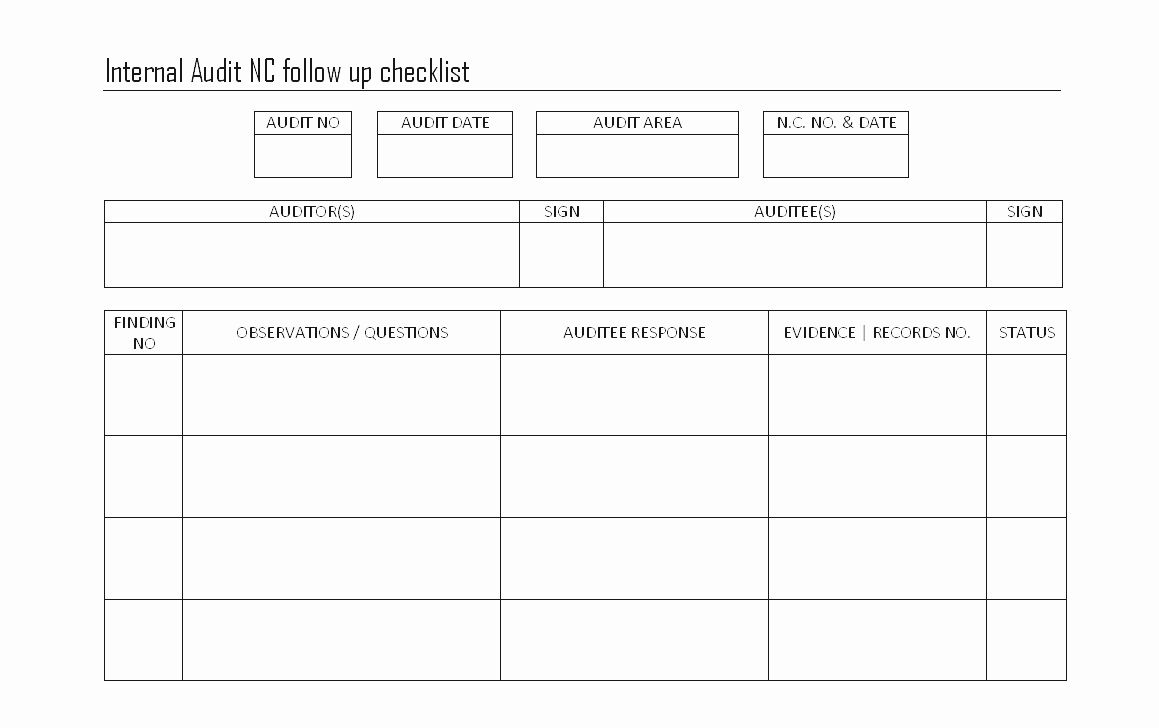 Internal audit forms template inspirational audit form