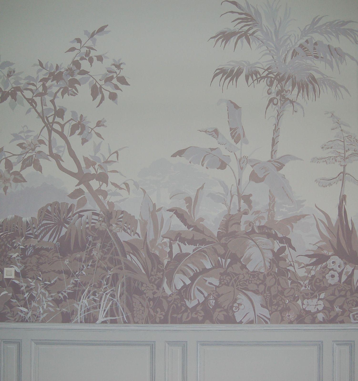 Décor en grisaille Copie de Papier Peint ancien Chambre des