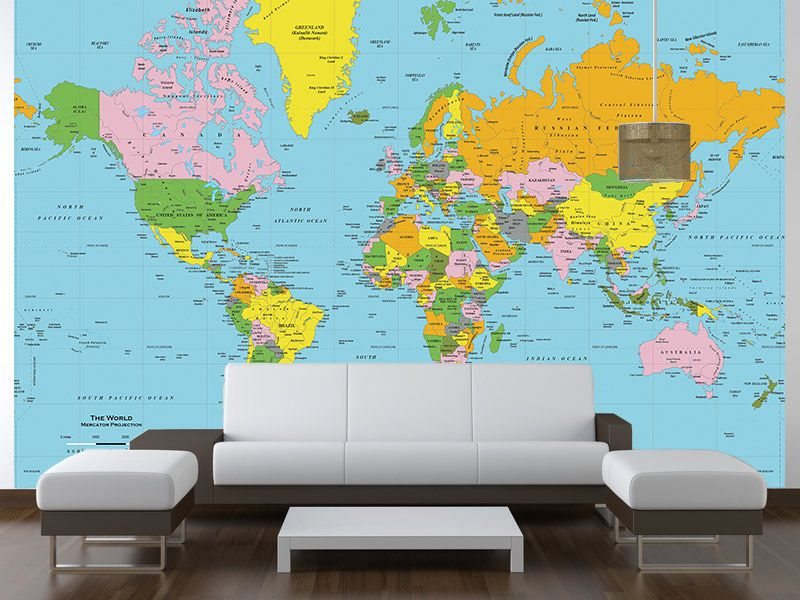 Classic Color World Political Map Wall Mural In Room Wallpaper - Map wall mural decal