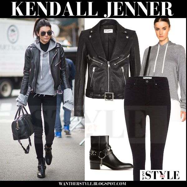 Kendall Jenner in black leather jacket, grey sweatshirt and black ...