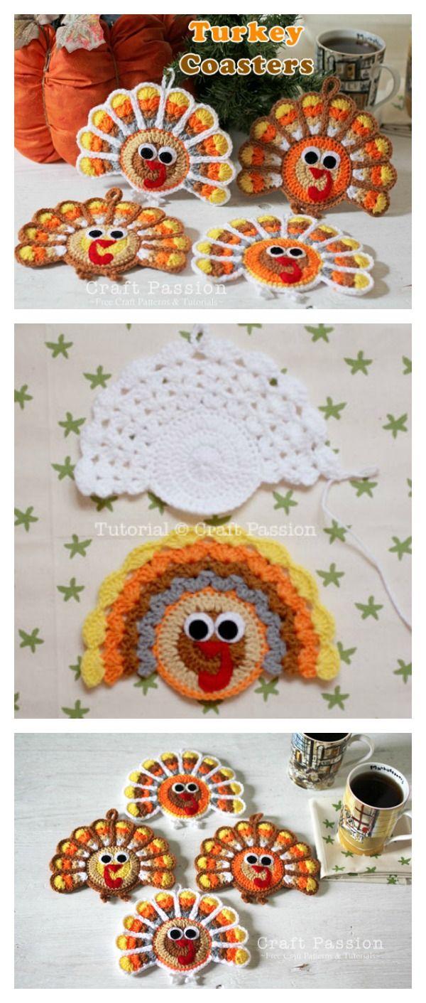 Turkey Coasters Free Crochet Pattern | Pinterest | Modelos femeninos ...