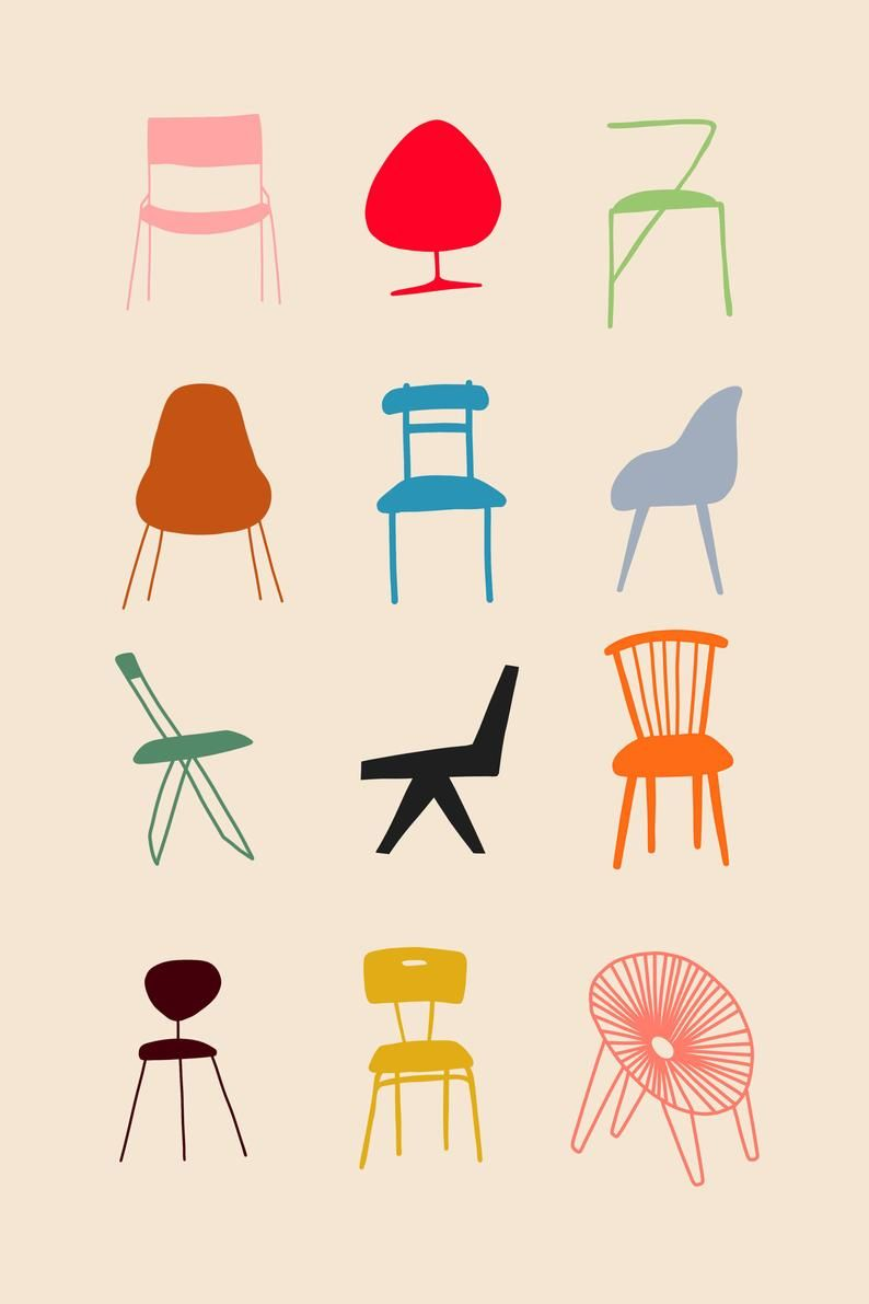 Have A Seat Colourful Designer Chairs Art Print Original Etsy In 2020 Art Chair Illustration Illustration Design