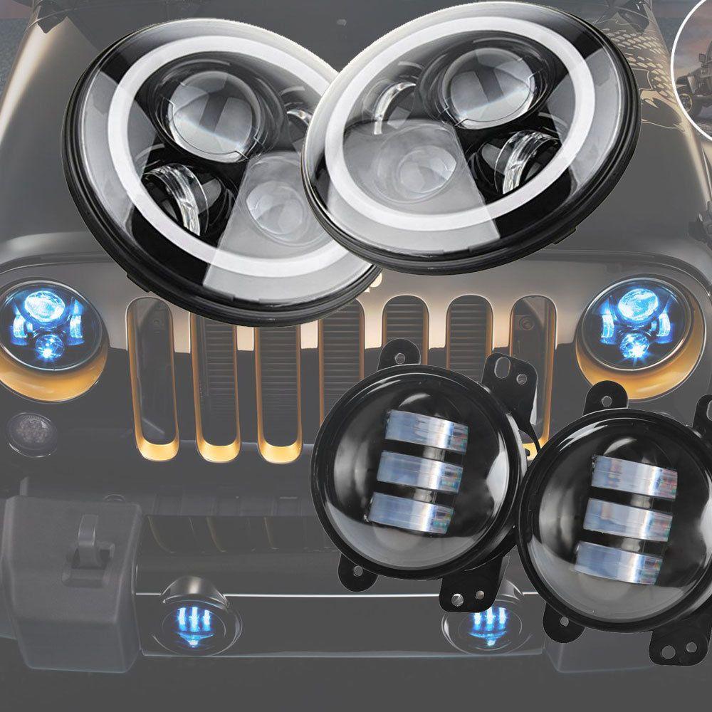 2x 7inch Round Led Headlight Bulb Drl 4 Fog Lamp For Jeep Jk Cj Wrangler Lj Hummer H1