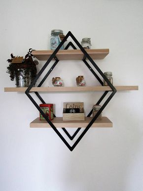 Shelf Style Industrial Diamond Iron And Wood Small Model Etagere Style Industriel Deco Salon Industriel Etagere Murale Industrielle