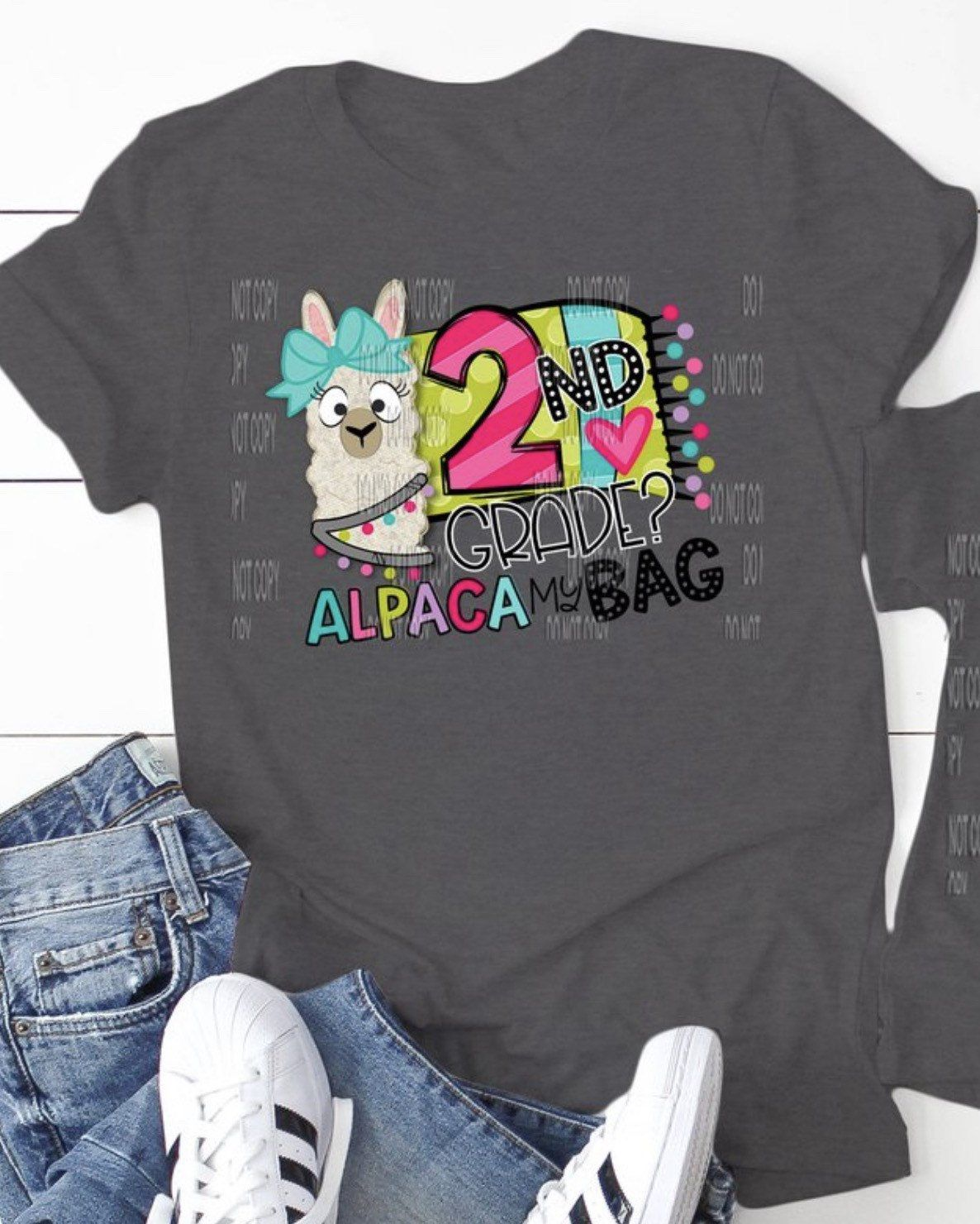 Pre-K -6th Grade, ALPACA BAG, 1st Day of School, Lama, Custom, Multi-Colored, Graphic T-Shirt #firstdayofschooloutfits