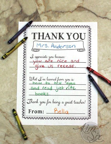 Teacher Appreciation Day Printable Thank You Notes School