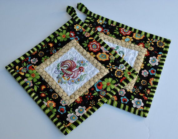 Embroidered Chicken & Rooster Potholders set by cachecreekquilts, $17.50
