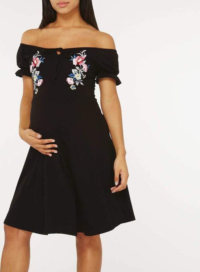 Dorothy Perkins **Maternity Black Embellished Bardot Skater Dress.#ad