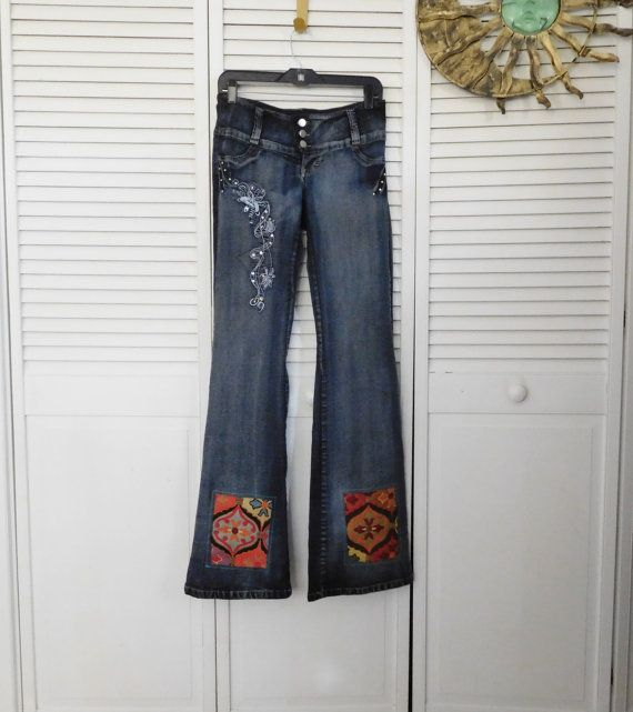 Upcycled Jeans Patched Upcycled Clothes Low Rise by LandofBridget