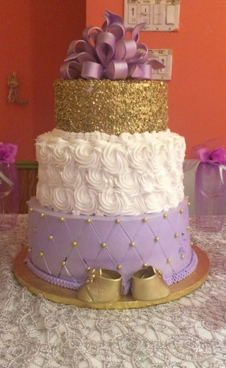 Baby Shower Cake Idea Purple White Gold Baby Shower In 2019