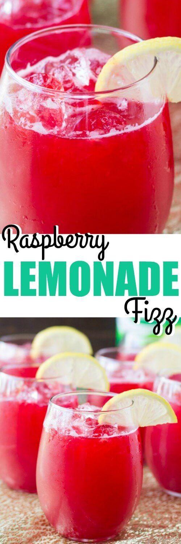 Raspberry Lemonade Fizz #raspberrylemonade Make Raspberry Lemonade Fizz the signature drink at your next party! It only takes 3 ingredients and everything can be made ahead. #raspberrylemonade