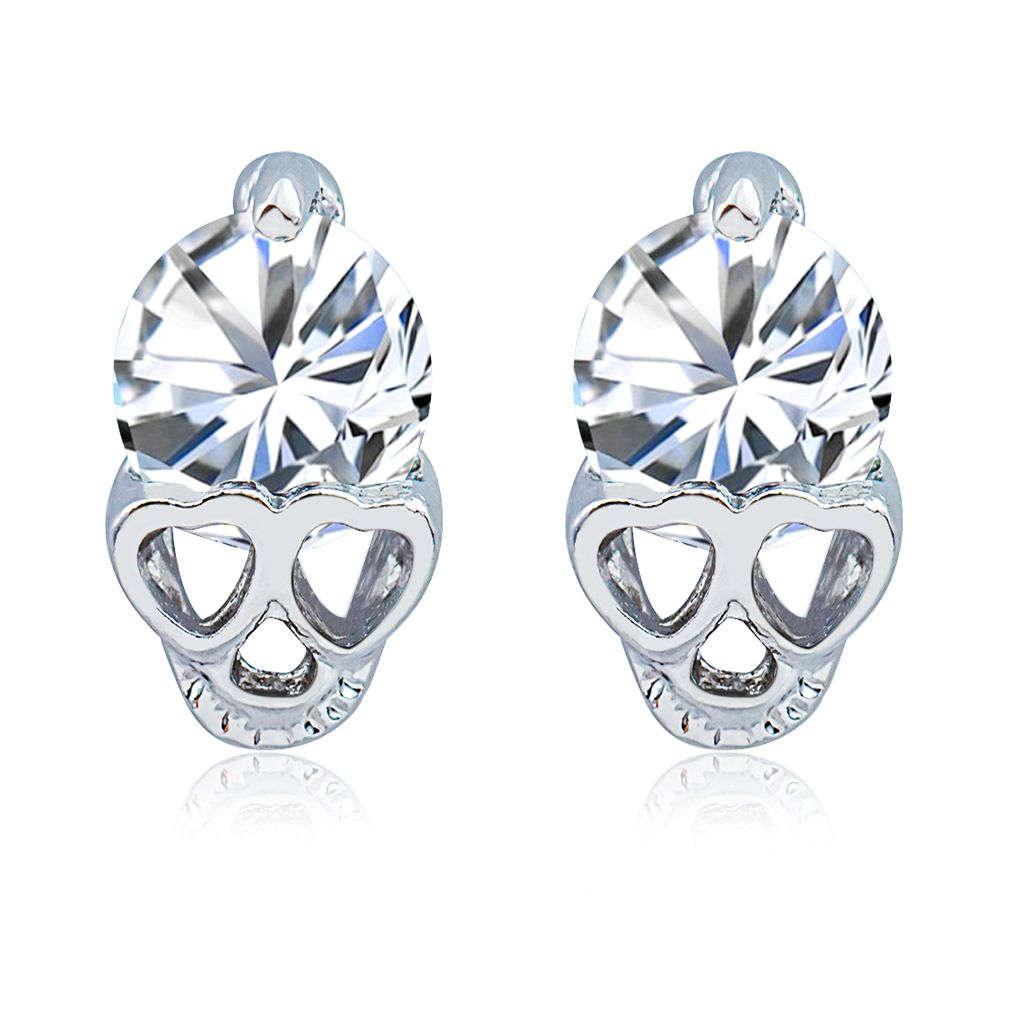 New Fashion Retro Earrings Imitation Crystal plated Skull Earrings