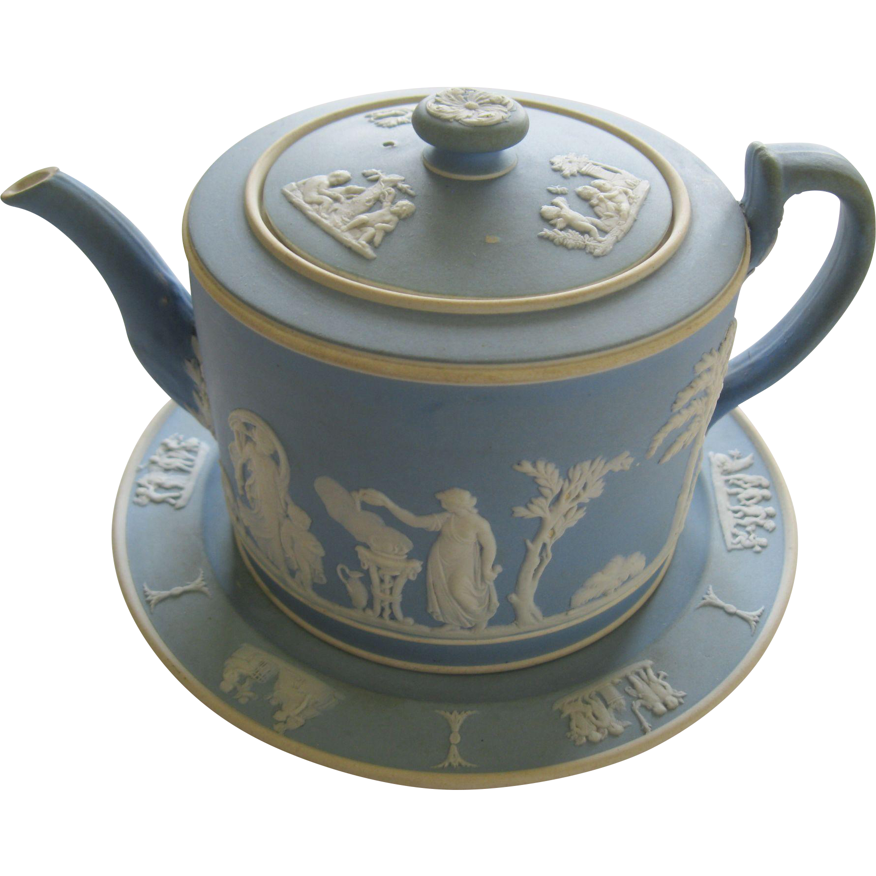19th Century Wedgwood Jasperware Light Blue Teapot With Underplate This Is The Earliest Marking Of Just W Antique Porcelain Plates Tea Pots Tea Pots Vintage