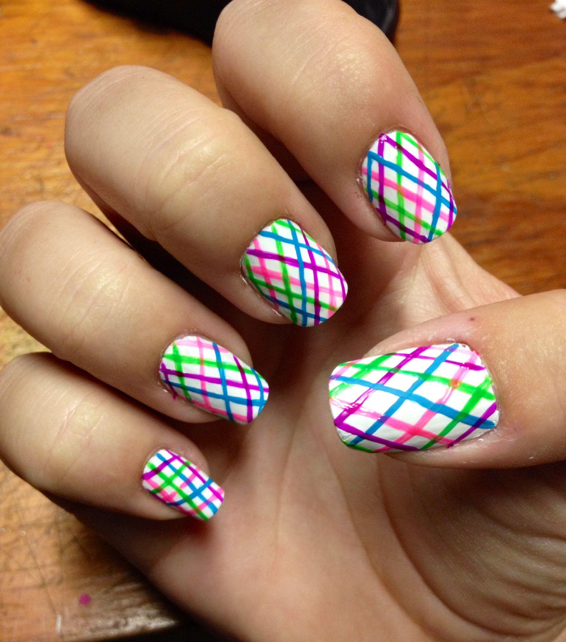 White Background With Rainbow Stripes Plaid Design Crisscross