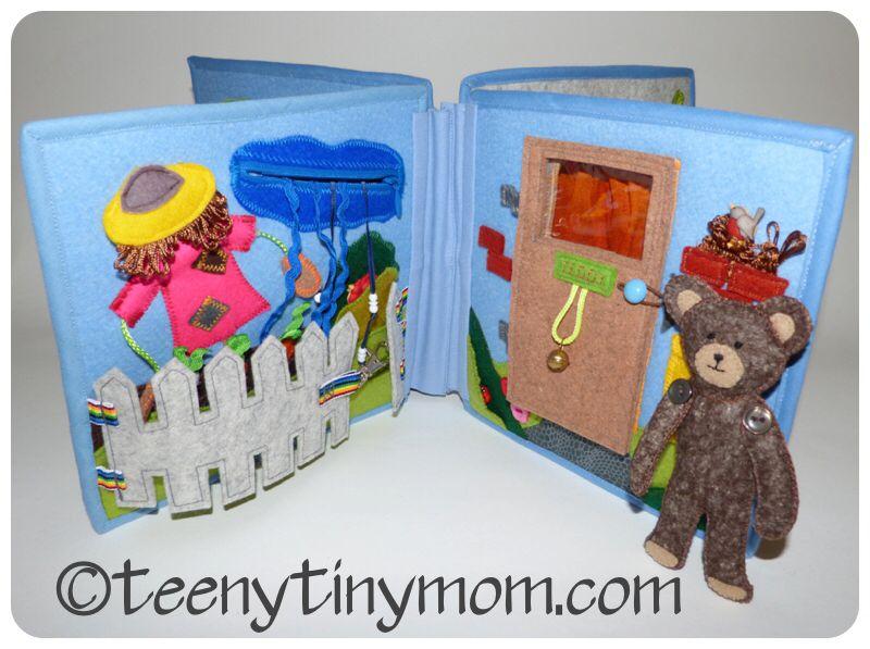 http://www.teenytinymom.com/quiet-book-spielbuch/ Quiet Book Spielbuch Teddy Template Schablone Felt Filz