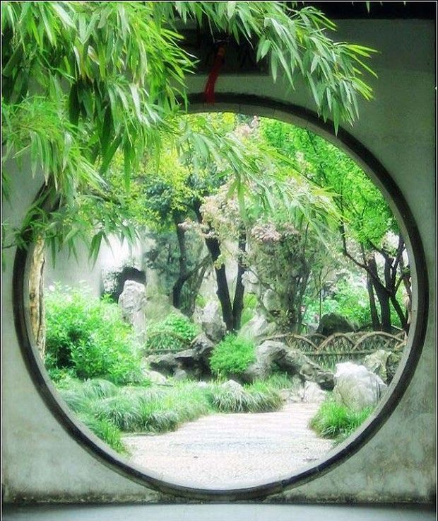 Lingering garden moon gate suzhou china where i had my for Conception jardin chinois