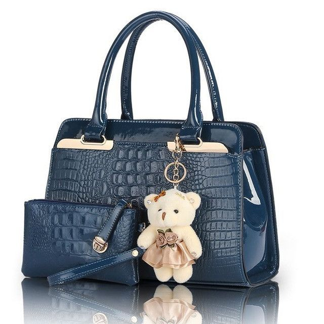 d7c07453f990 SUNNY SHOP Fashion PU Patent Leather Women Shoulder Bags Elegant Alligator  Pattern Women Messenger Bags 2 bags set w  Bear Toy