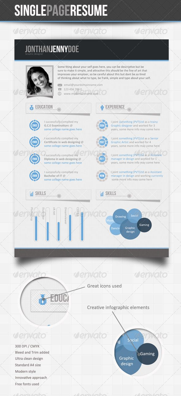 Clean Blue  Single Page Resume Template  Template Graphic