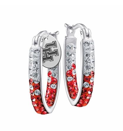 Houston Cougars Crystal Hoop Earrings Hoop Earrings
