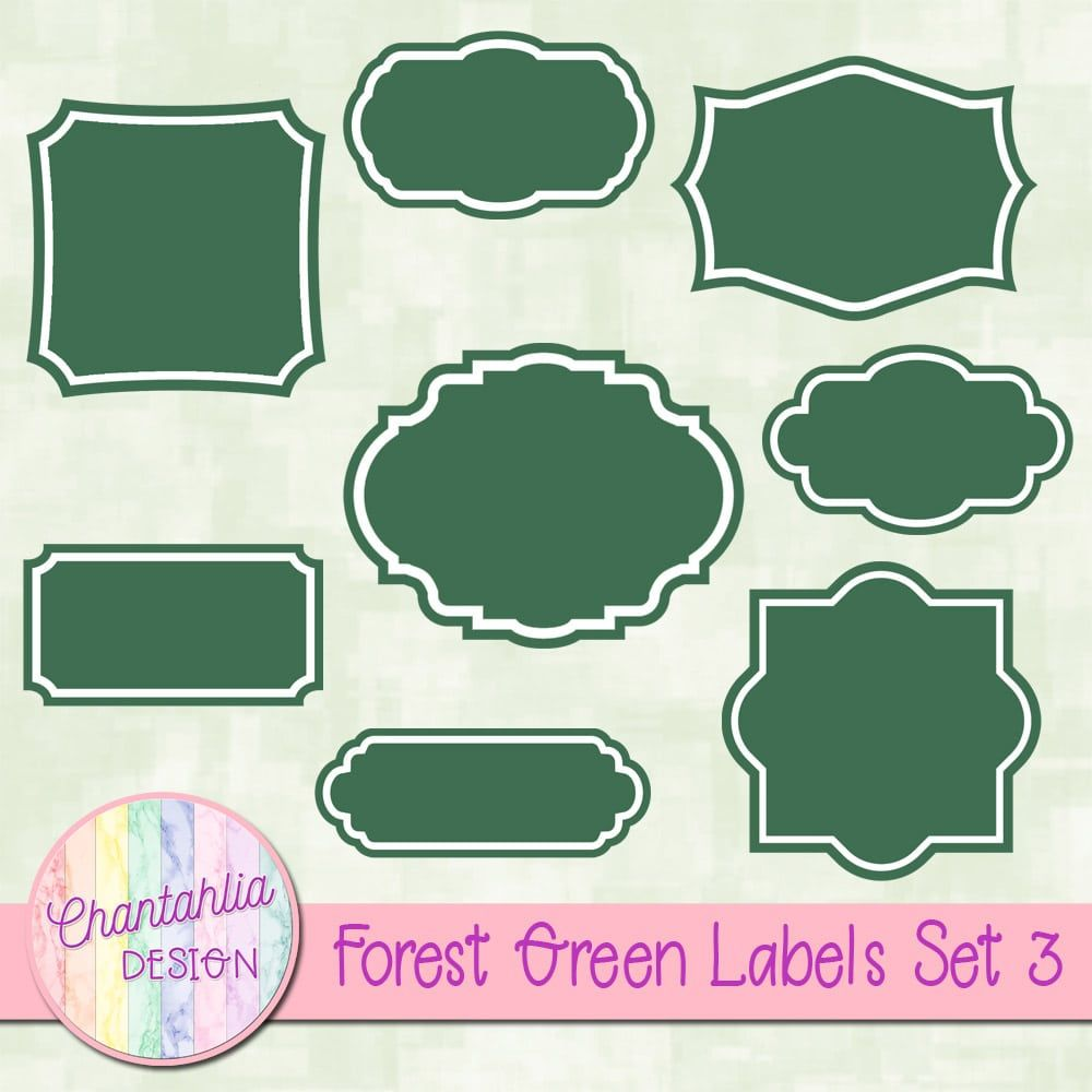 Free Digital Labels In Forest Green. Use Them To Make