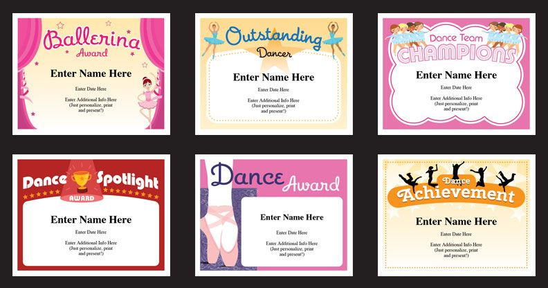 Dance certificates templates Just personalize, print and