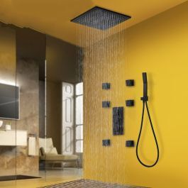 Photo of Juno Black Bronze Rainfall Thermostatic Shower Head with 6 Jet Spa Bathroom Shower