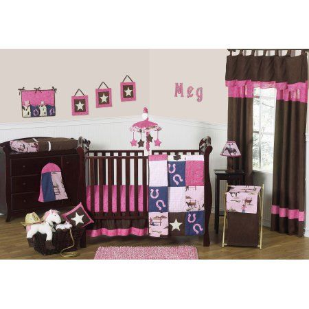 Sweet Jojo Designs 11-Piece Western Horse Cowgirl Pink and Brown Baby Girl Bedding Crib Set Without Bumper