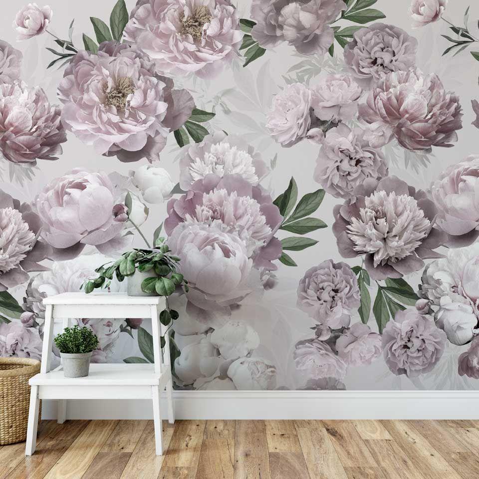 Tapeta W Kwiaty Piwonie Large Pink Flowers Wallpaper With Peonies Wallpaper Printed Shower Curtain Decor