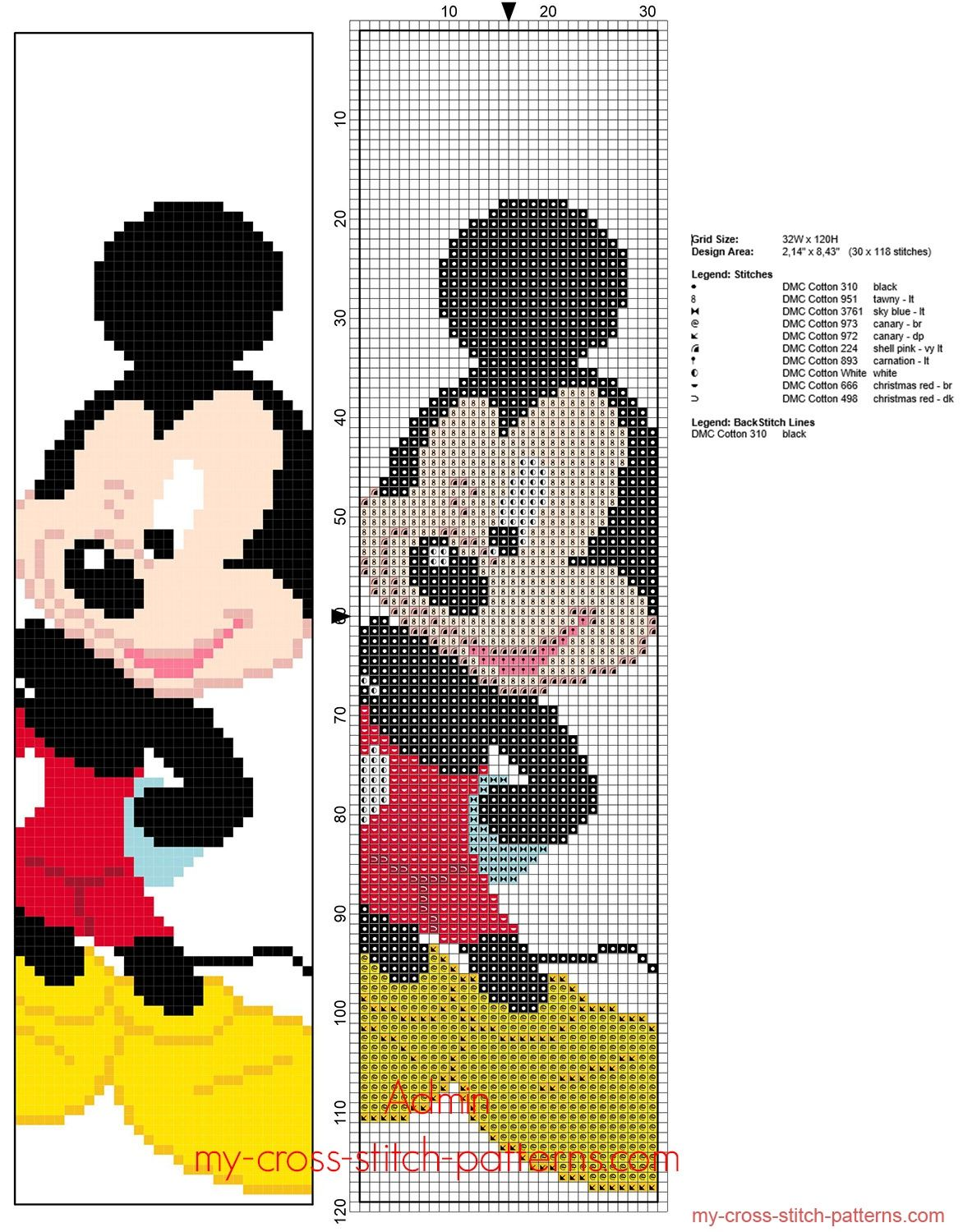 Disney Mickey Mouse children bookmark free cross stitch pattern ...
