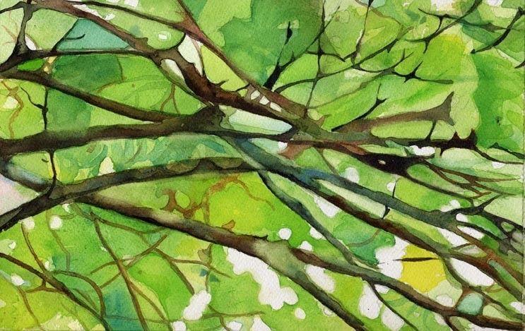 Zen Nature Abstract Green Art Print Of My By Rachelsstudio On Etsy Branch Abstract Green Art Print Nature Art Painting Abstract Art Painting