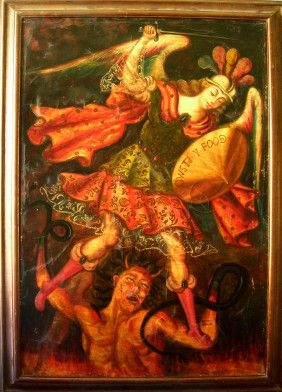 This is a magnificent oil painting from the Cuzco School attributed to VIctor Manuel Garcia showing a fight between and Angel and the Devil