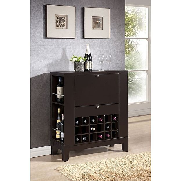 Dry Bar Wine Cabinet Storage Liquor Compact Glassware Bottles Shelves Dining