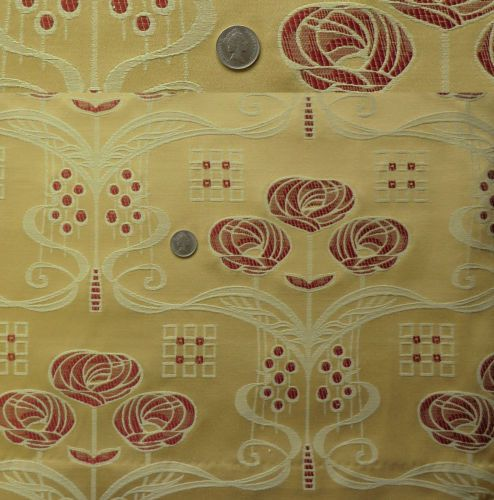 Superb Quality Gold Red Rennie Mackintosh Curtain Fabric