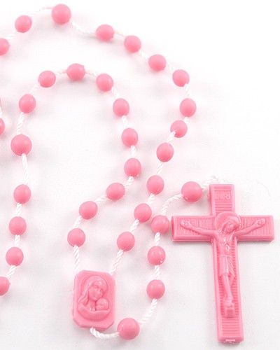 Pink #Plastic #Rosary with string, #Madonna and Child plastic center and #Crucifix. This is the best quality plastic rosary you will find anywhere. It is very sturdy, it does't crack or brake and it doesn't have sharp edges. Made in #Italy.(sku 096p)