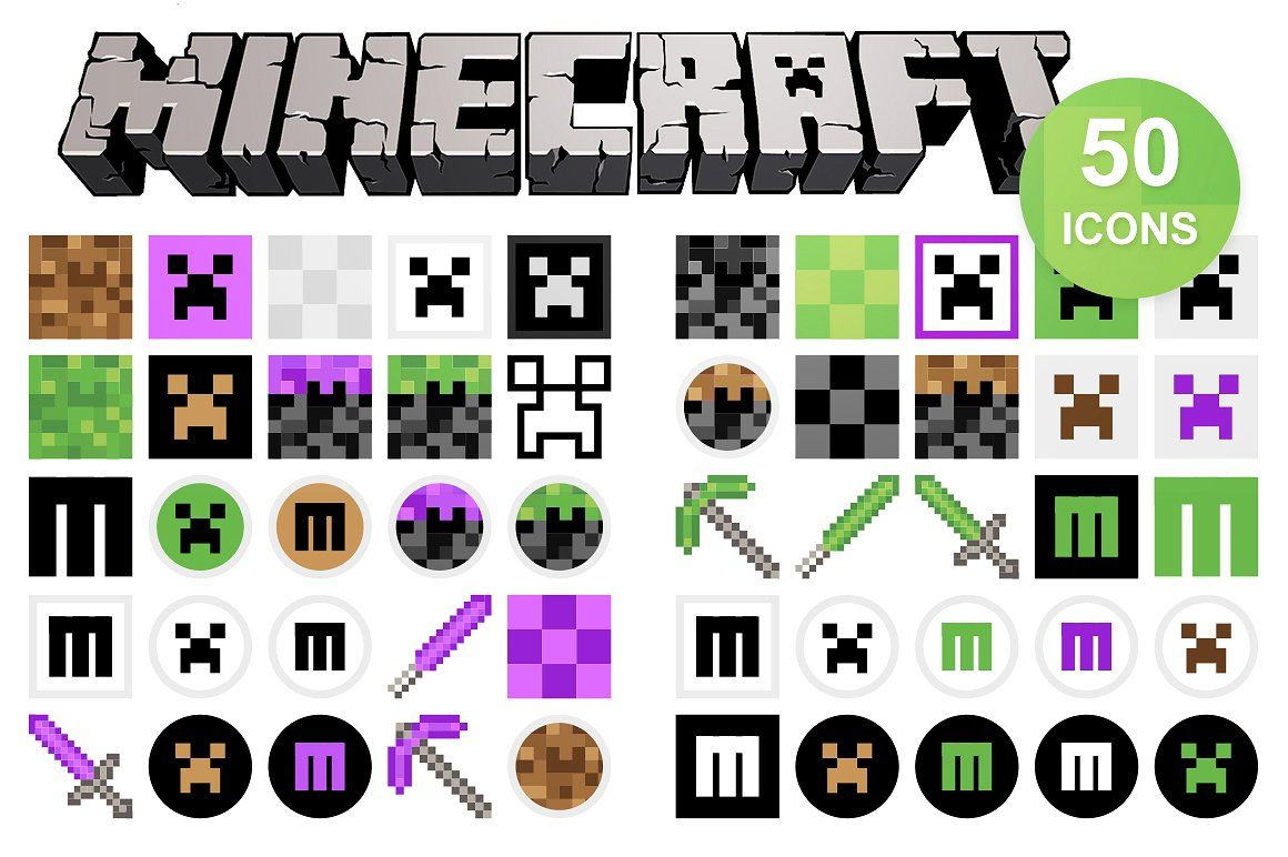 50 Minecraft Icons Business card logo, Icon, Icon design