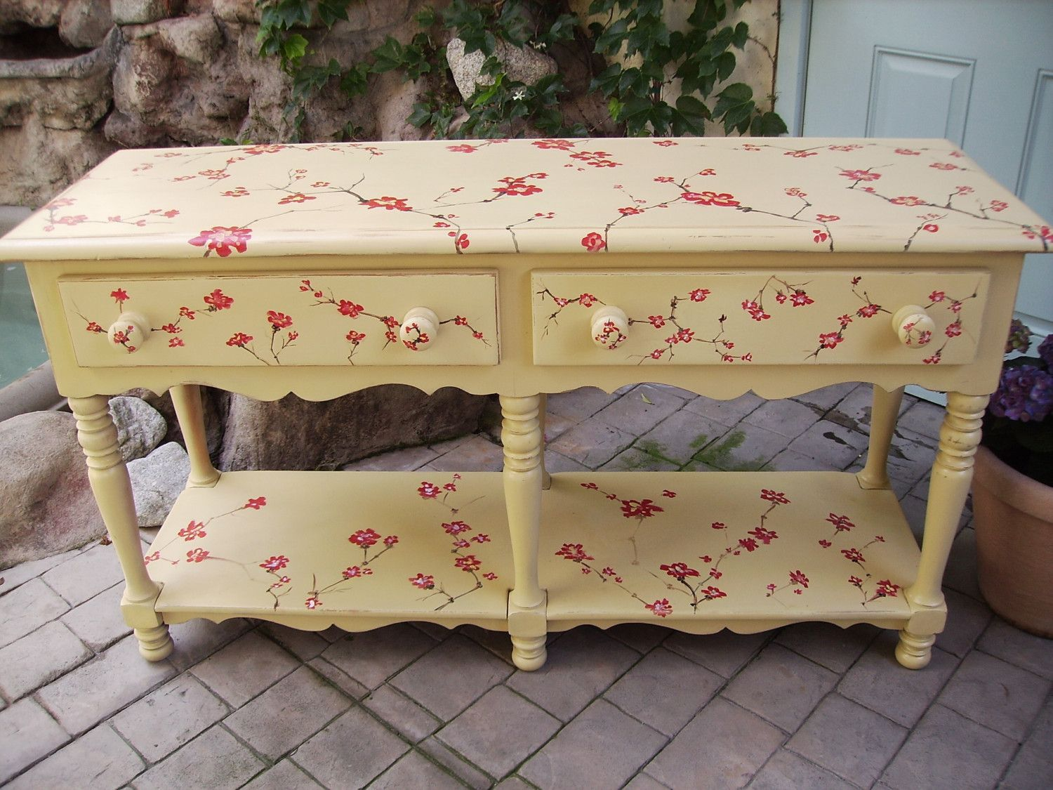 Hand Painted Cherry Blossom Sofa Table by sandy562 on Etsy, $600.00
