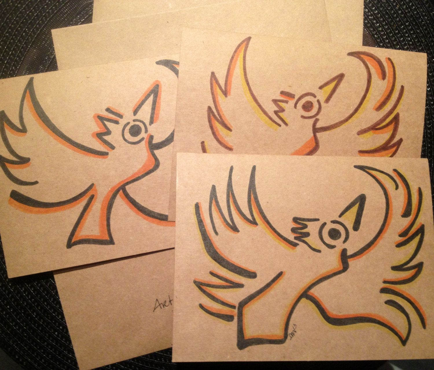Set Of 3 Phoenix Bird Greeting Cards Made In Dc 900 Via Etsy