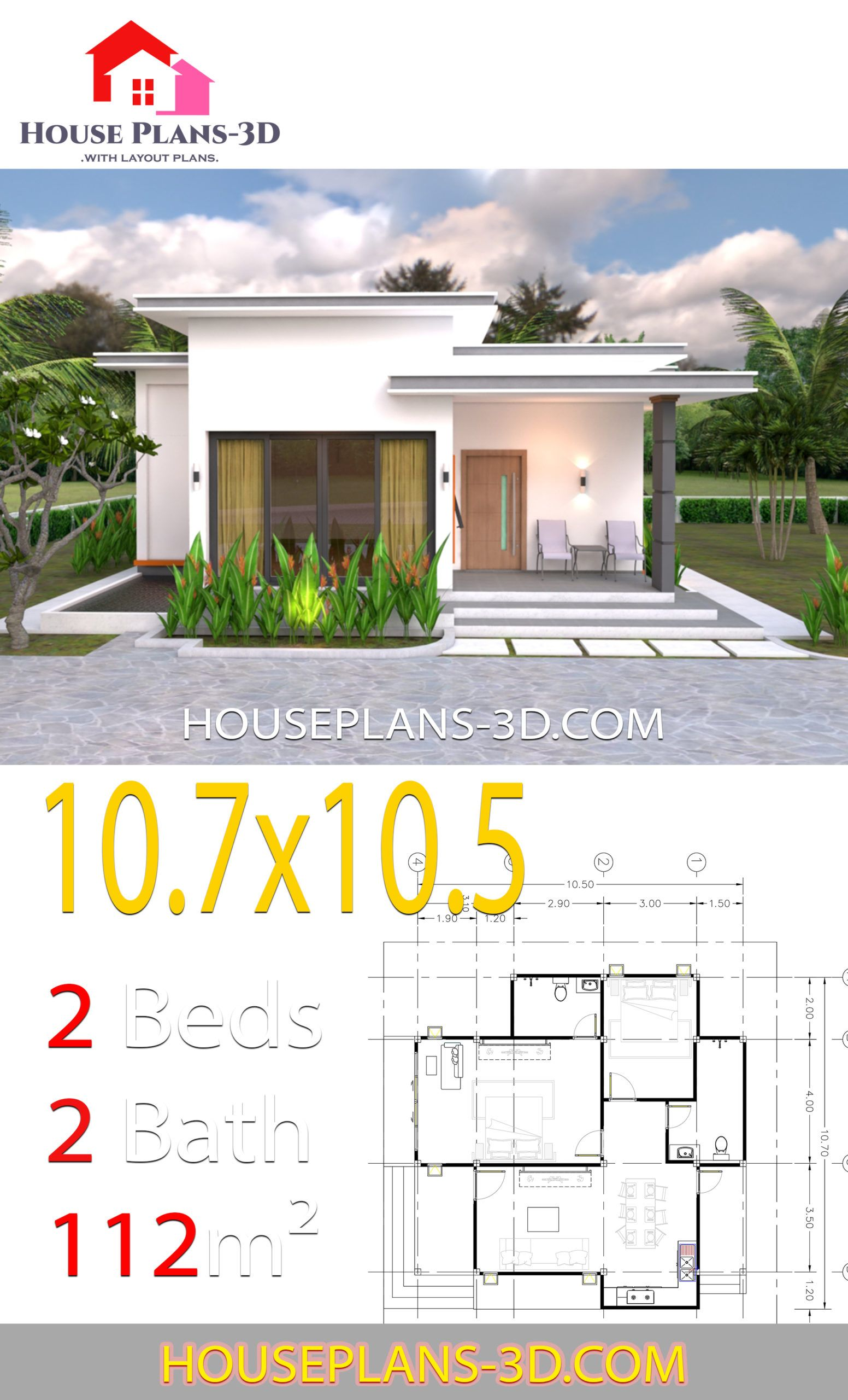 House Plans 10 7x10 5 With 2 Bedrooms Flat Roof House Plans 3d In 2020 Flat Roof House House Plans House Roof