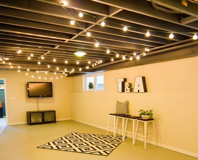 Construction Light String Delectable String Lights On The Ceiling For Extra Basement Lighting What