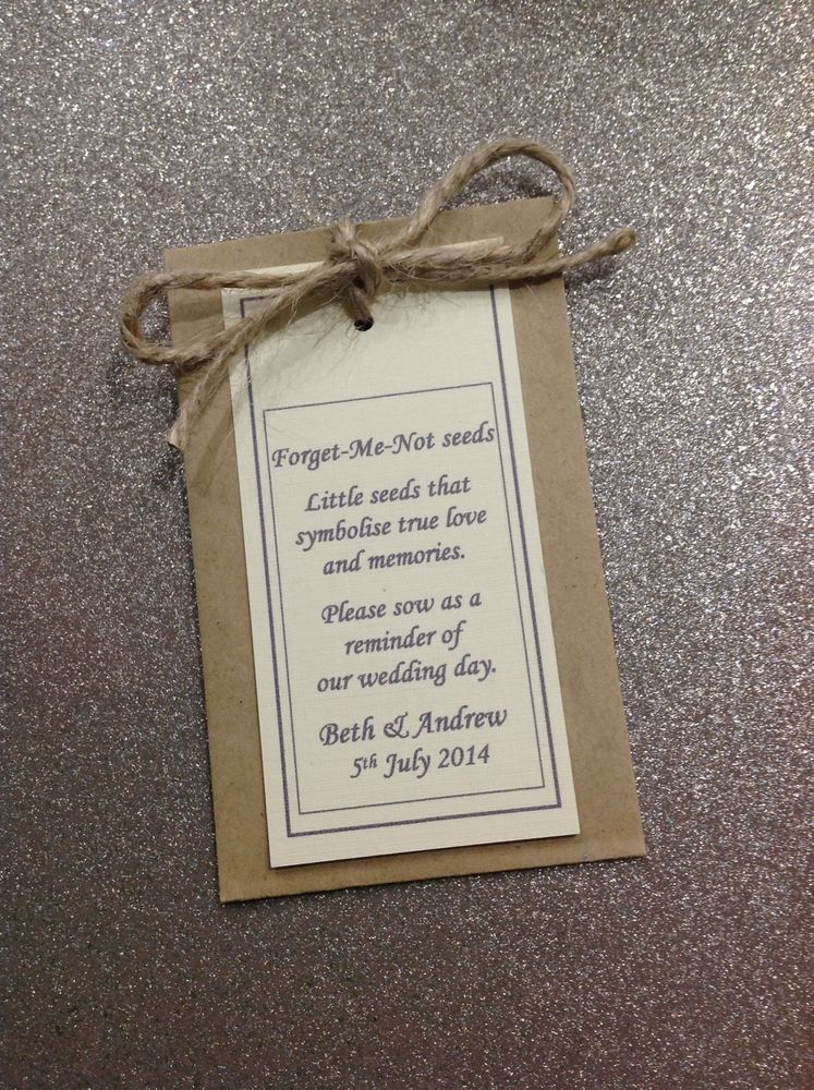 10 Personalised Forget Me Not Seed Wedding Favour Rustic Rope Theme Or Ribbon In Home Furniture Diy Supplies Favours Ebay