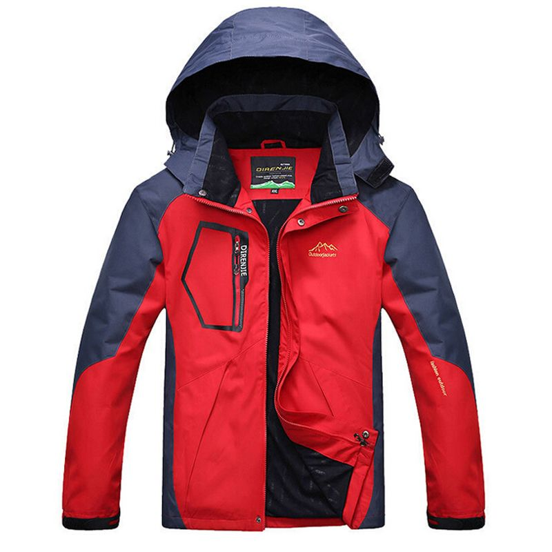 Etecredpow Men Fall Winter Fleece Ski Jacket Hiking Hoodie Parka Jacket