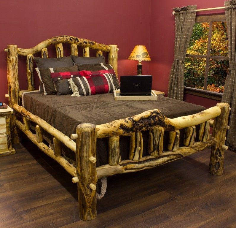 Aspen Mountain Snowload Ii Bed Master Bedroom Rustic Log Furniture Log Bedroom Furniture