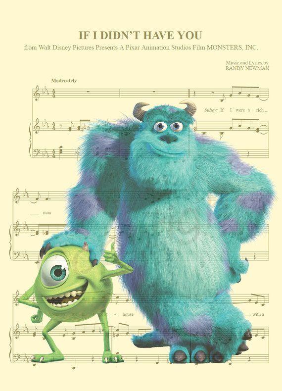 Aquí es una música hoja arte de Mike y Sully de Monsters, Inc. de ...