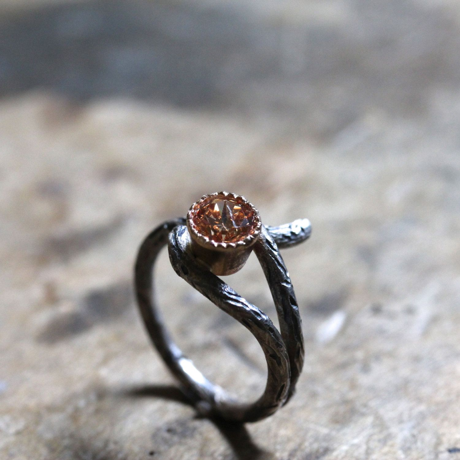 silver 14k yellow gold branch peach cz engagement ring rustic