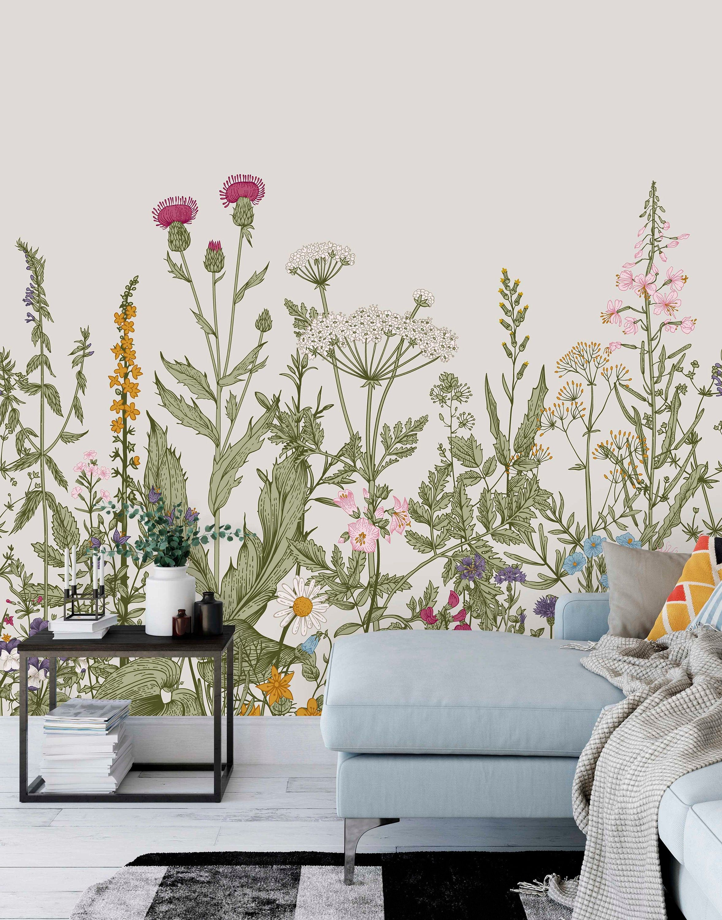 Large Wildflower Mural Removable Self Adhesive Wallpaper Fabric Peel Stick Wallpaper Mural Floral Wallcovering By Green Planet Print Wildflower Mural Mural Wallpaper Wall Murals
