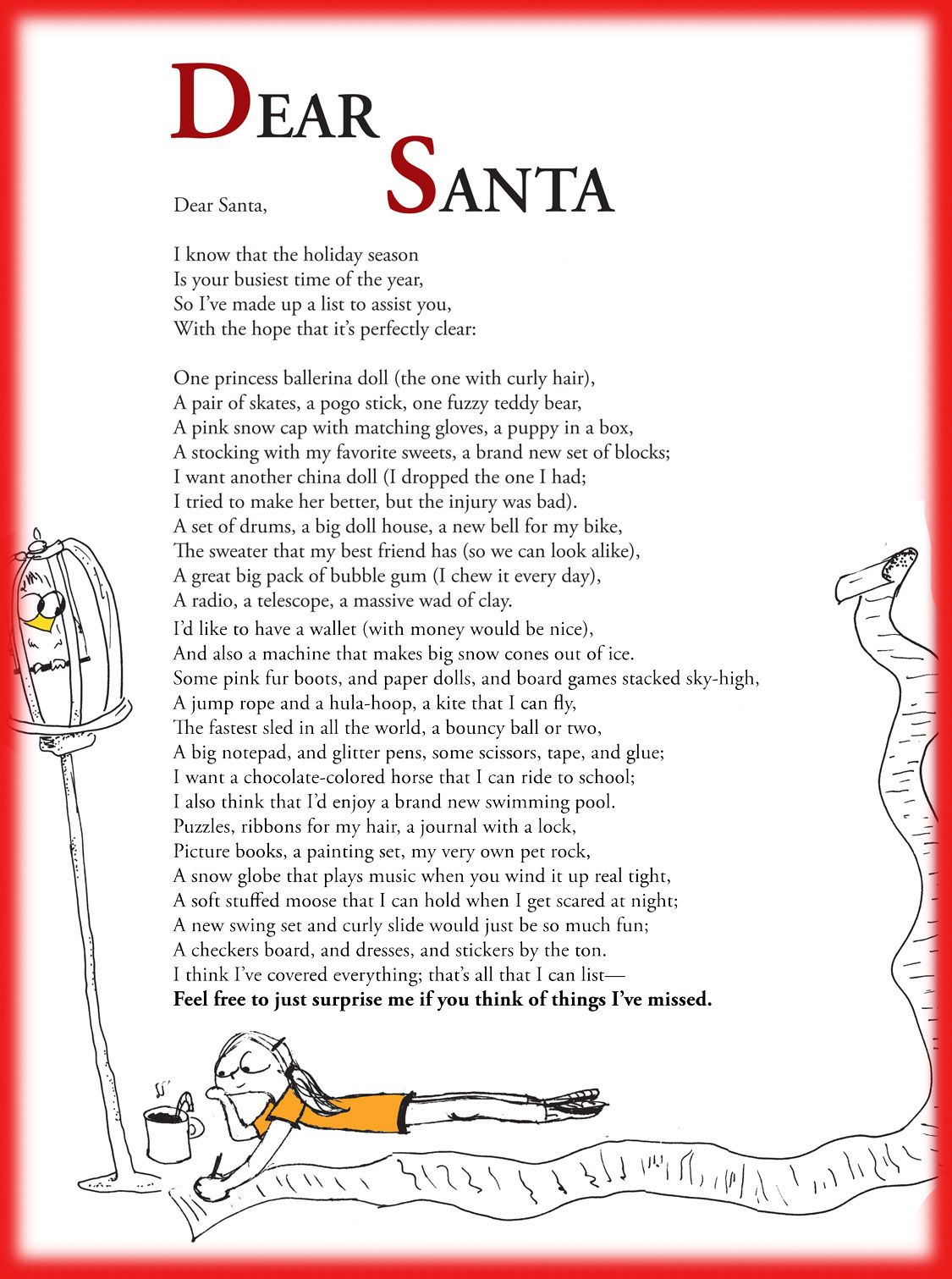 Funny Children S Poem About A Really Long Christmas Wish List To Santa Great For School And