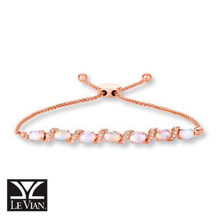 Le Vian Opal And Diamond Bolo Bracelet 14k Strawberry Gold